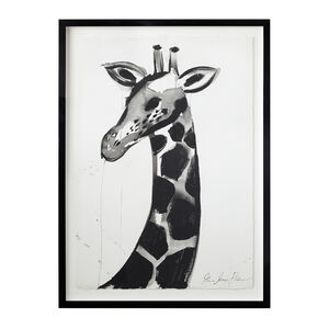 "Jenna Snyder-Phillips - Jenna Snyder-Phillips ""Giraffe No. 1"" Framed Sumi Ink Painting"