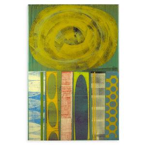 "Rex Ray - Rex Ray ""16 X 24 Artwork"" Original Green Mixed Media Collage"