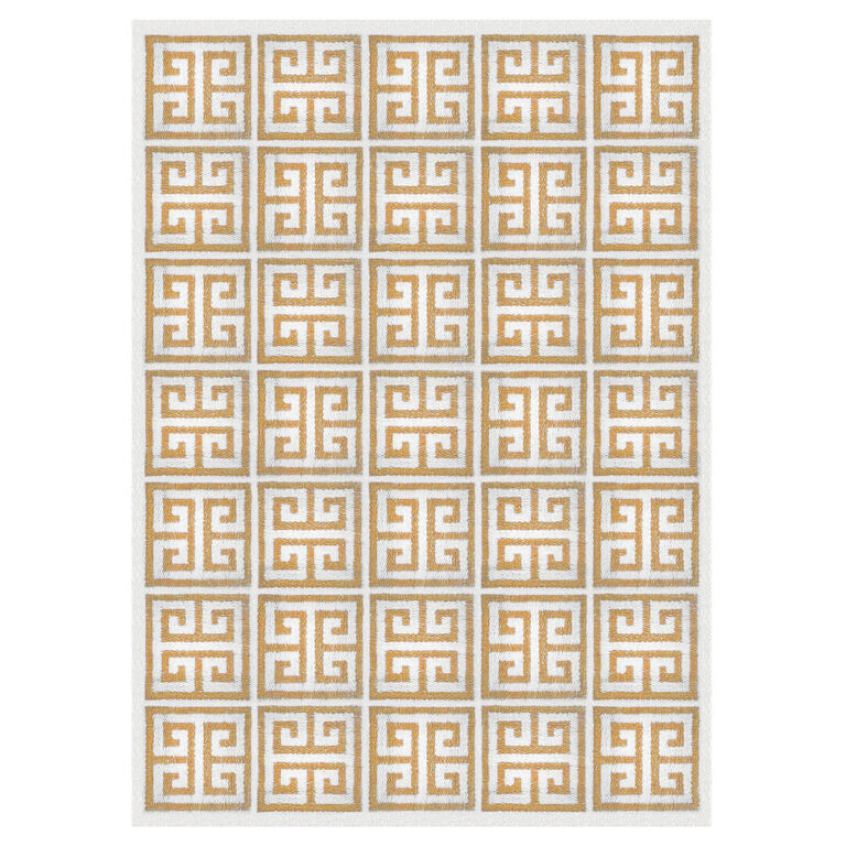 Peruvian Flat Weave - Camel Greek Key Peruvian Llama Flat Weave Rug