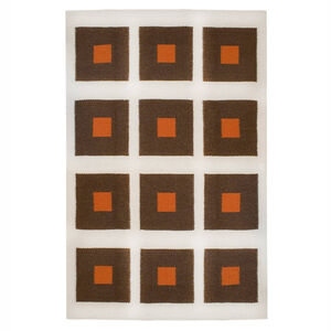 Peruvian Flat Weave - Chocolate and Orange Peter Peruvian Llama Flat Weave Rug