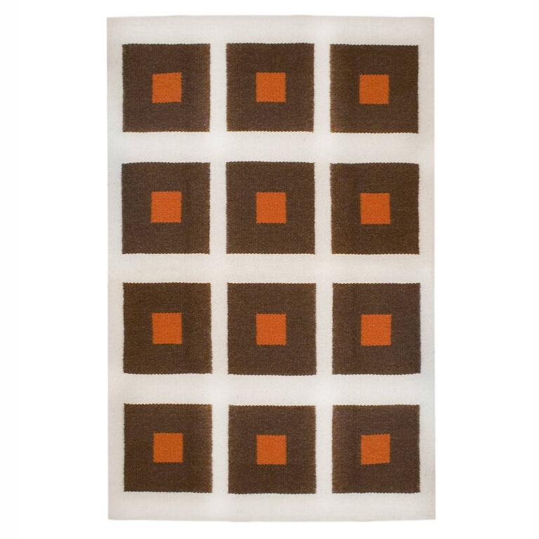 Peruvian Flat Weave - Chocolate and Orange Peter Peruvian Llama Flat Weave Rug