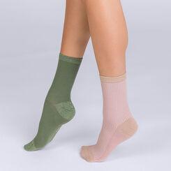 Lot de 2 chaussettes côtellées brillantes kaki et nude Femme-DIM