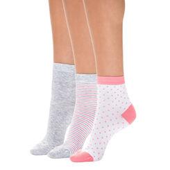 Lot de 3 paires de socquettes à rayures tricolores Femme-DIM