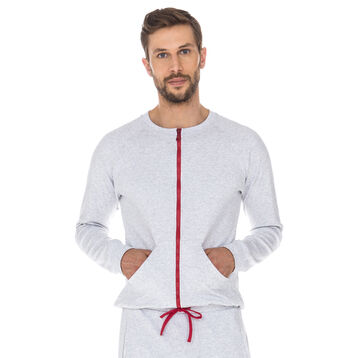 Veste sweatshirt de pyjama gris chiné 100% coton Homme-DIM
