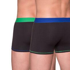 Lot de 2 boxers noirs ceinture bleu roi et vert-DIM