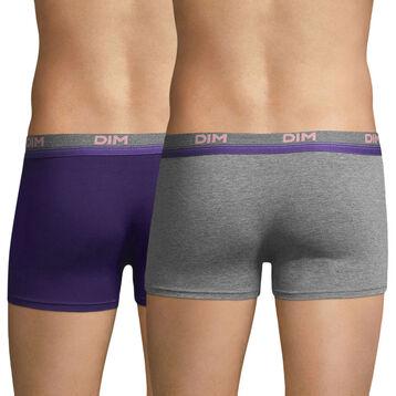 Lot de 2 boxers gris chiné et violet auburn Original Spirit-DIM