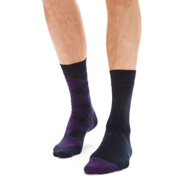 Lot de 2 chaussettes bleues et lilas à losanges Homme -DIM