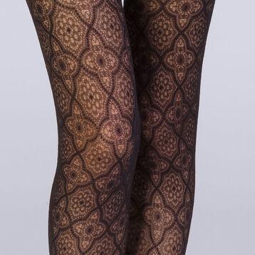 Collant plumetis mosaïque noir Femme Les Fantaisies-DIM