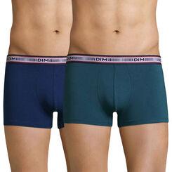 Lot de 2 boxers vert pin et bleu mer 3D Flex -DIM