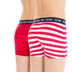 Lot de 2 boxers rouge et imprimé américain en coton DIM Boy-DIM
