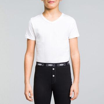T-shirt blanc col en V manches courtes 100% coton DIM Boy-DIM