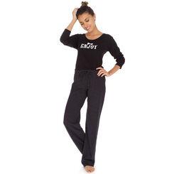 Pantalon de pyjama noir plumetis 100% coton Femme-DIM