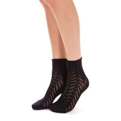 Socquettes noires crochet graphique Femme-DIM