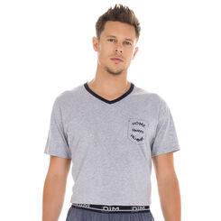 T-shirt manches courtes de pyjama gris 100% coton Homme -DIM