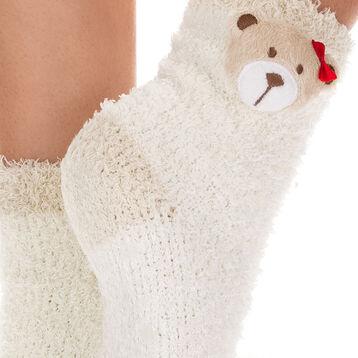 Chaussettes blanc cassé avec tête d'ours pour Enfant-DIM