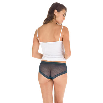 Shorty vert topaze transparent en coton Sexy Transparency-DIM