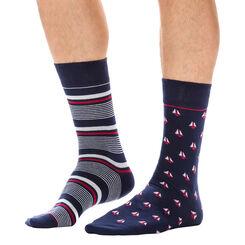 Lot de 2 paires de chaussettes bleues à motifs bateaux Homme-DIM