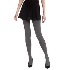Collant chaud gris chiné plumetis noirs Madame So Cosy 110D-DIM