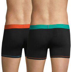 Lot de 2 boxers noirs ceinture orange et bleue Mix & Colors-DIM