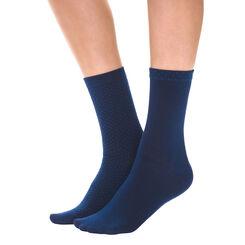 Lot de 2 paires de chaussettes plumetis bleu patriote Femme-DIM
