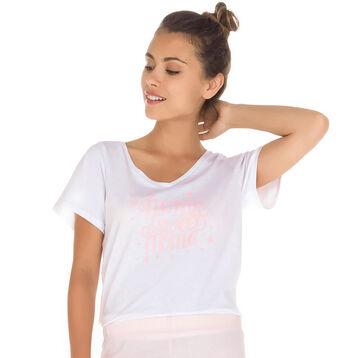 T-shirt de pyjama manches courtes blanc 100% coton Femme-DIM