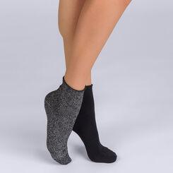 Lot de 2 paires de socquettes noires et brillantes Femme-DIM