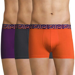 Lot de 3 boxers cassis, orange et plomb DIM Powerful-DIM