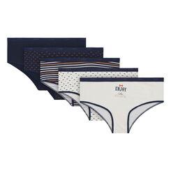 Lot de 5 boxers bleus et nacre imprimés coton Les Pockets-DIM