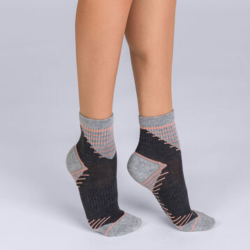 Lot de 2 socquettes impact medium grises Femme DIM Sport-DIM