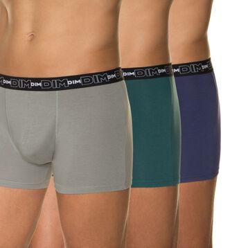Lot de 3 boxers gris ardoise, bleu nuit et vert foncé-DIM