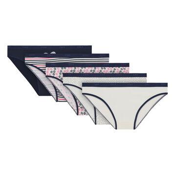 Lot de 5 slips nacre et imprimés coton stretch Les Pockets-DIM