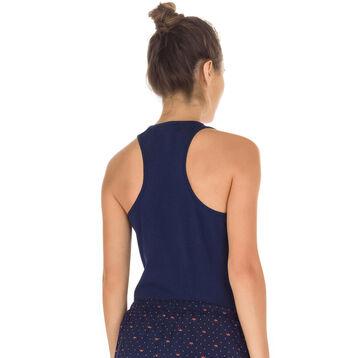 Débardeur de pyjama marine en coton stretch Femme-DIM