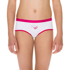 Lot de 2 shortys blanc et rose framboise DIM Girl-DIM