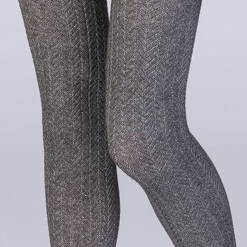 Collant tresse gris chiné 110 D Femme Les Fantaisies -DIM