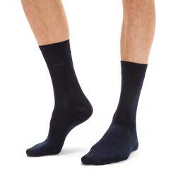 Lot de 3 paires de chaussettes bleues rayures et pois Homme-DIM