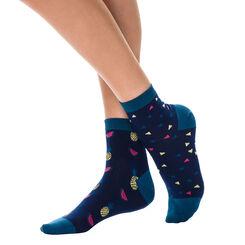 Lot de 2 paires de socquettes bleues à motifs fruités Femme-DIM