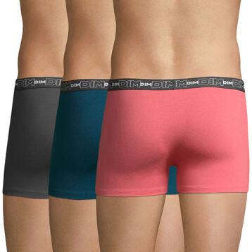 Lot de 3 boxers rose, vert et gris Coton Stretch-DIM