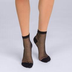 Socquettes noires à rayures ajourées Femme-DIM