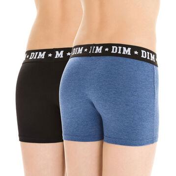 Lot de 2 boxers noir et bleu indigo en coton DIM Boy-DIM
