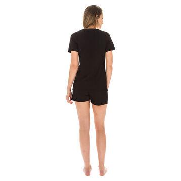 T-shirt de pyjama manches courtes noir 100% coton Femme-DIM