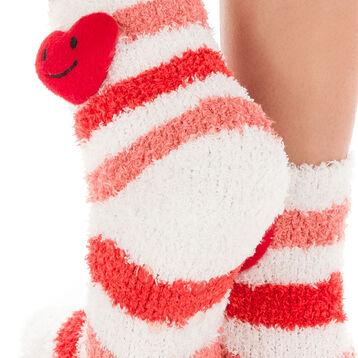 Chaussettes blanches à rayures rouges avec cœur pour Enfant-DIM