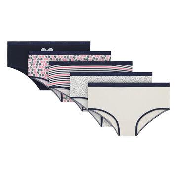Lot de 5 boxers nacre et imprimés coton stretch Les Pockets-DIM