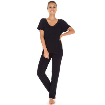 T-shirt manches courtes noir avec dentelle Femme-DIM