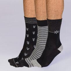 Lot de 3 chaussettes noires et grises motif marin Homme-DIM
