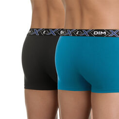 Lot de 2 boxers bleu et noir X-Temp en coton stretch-DIM
