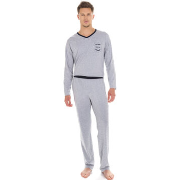 Pantalon de pyjama gris chiné 100% coton Homme-DIM