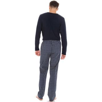 Pantalon de pyjama bleu foncé imprimé 100% coton Homme-DIM