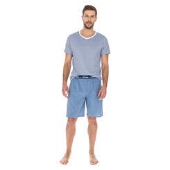 Short de pyjama bleu tempête 100% coton Homme-DIM