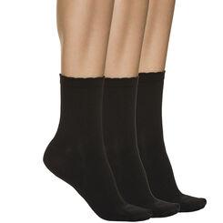 Lot de 3 paires de socquettes noires en microfibre Femme-DIM