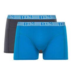 Lot de 2 boxers bleu azur et gris EcoDIM coton stretch -DIM